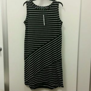 August Silk Jersey Knit Stripes Dress
